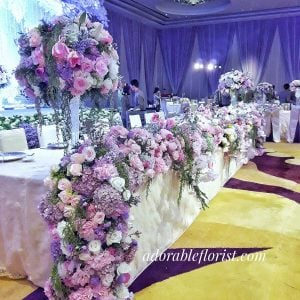 Long table arrangement for the bridal table