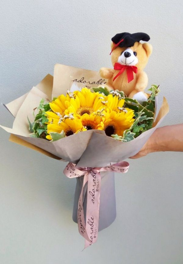 Adorable Yellow Gerbera And Bear