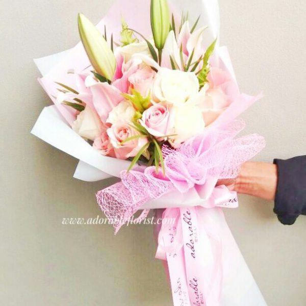 adorable pink rose and lili bouquet