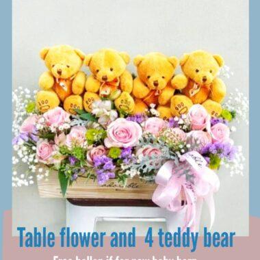bunga dan boneka untuk wisuda